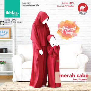 Gamis Couple Dhikr Ikhlas Merah Cabe